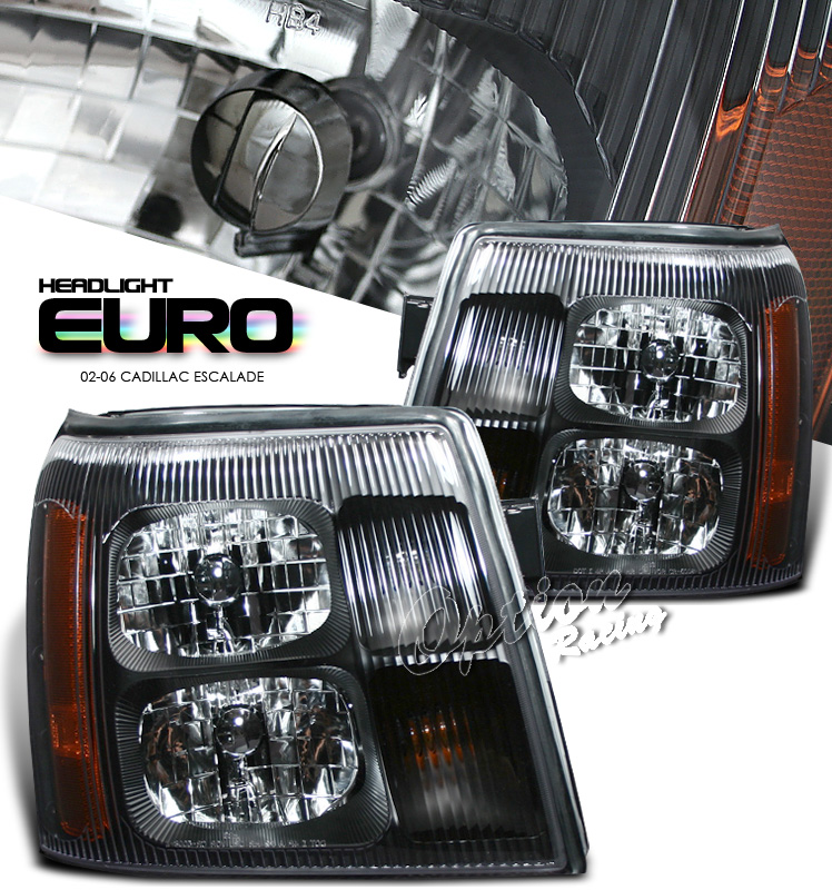 Cadillac Escalade 2002-2006  Black W/o Hid Type Euro Crystal Headlights