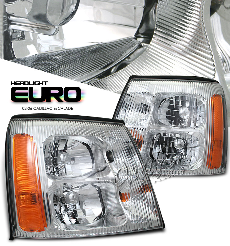 Cadillac Escalade 2002-2006  Chrome W/o Hid Type Euro Crystal Headlights