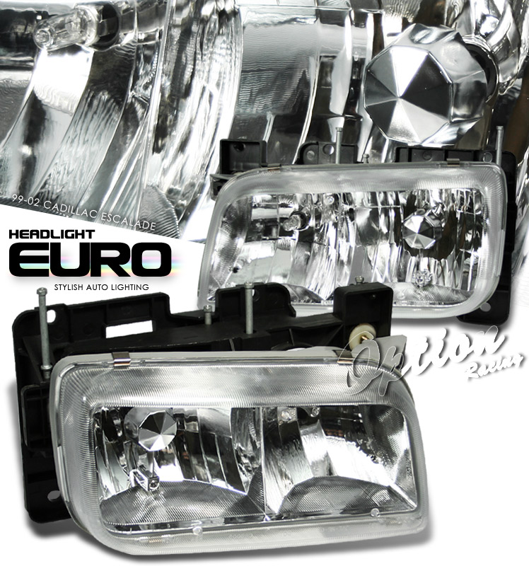Cadillac Escalade 1999-2001  Chrome Euro Crystal Headlights