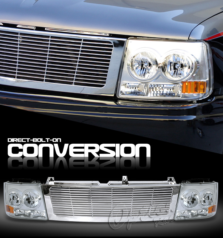 Chevrolet Silverado 1999-2002  Chrome/chrome Euro Crystal Headlights