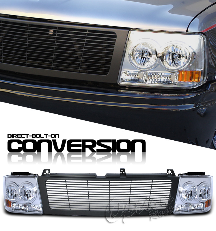 Chevrolet Silverado 1999-2002  Black/chrome Euro Crystal Headlights