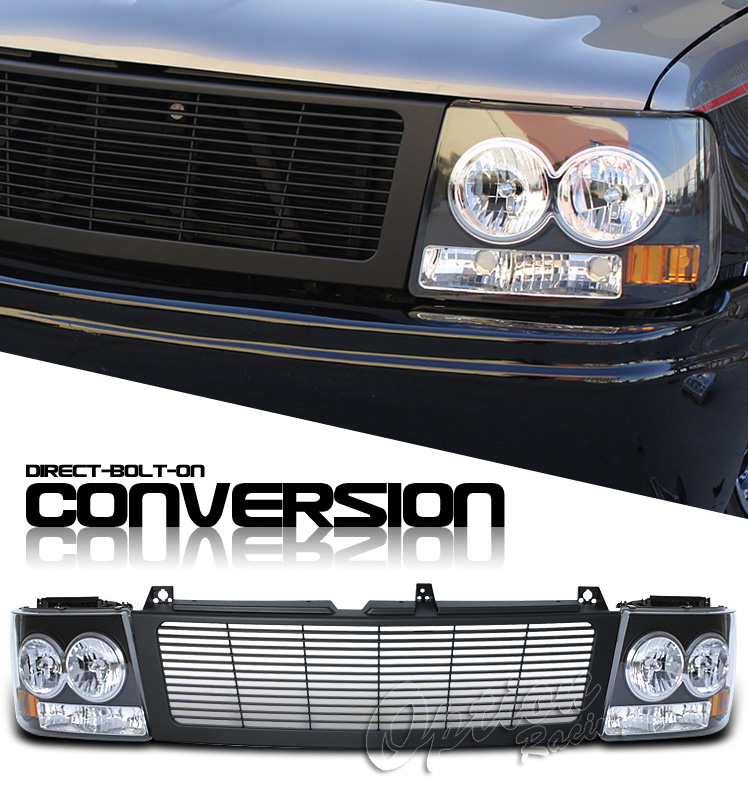 Chevrolet Silverado 1999-2002  Black/black Euro Crystal Headlights