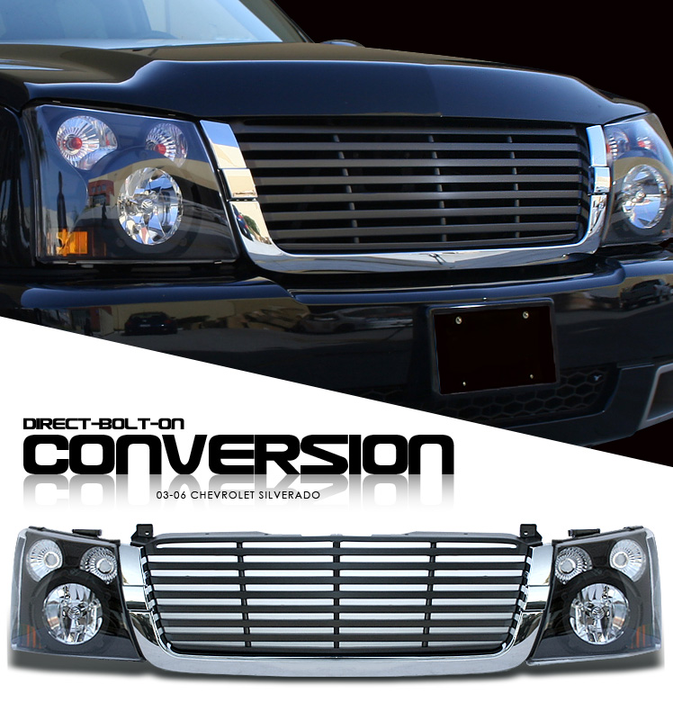Chevrolet Silverado 2003-2006 Kit - Black Headlight  / Chromed Trim Black Billet Grille  Euro Crystal Headlights