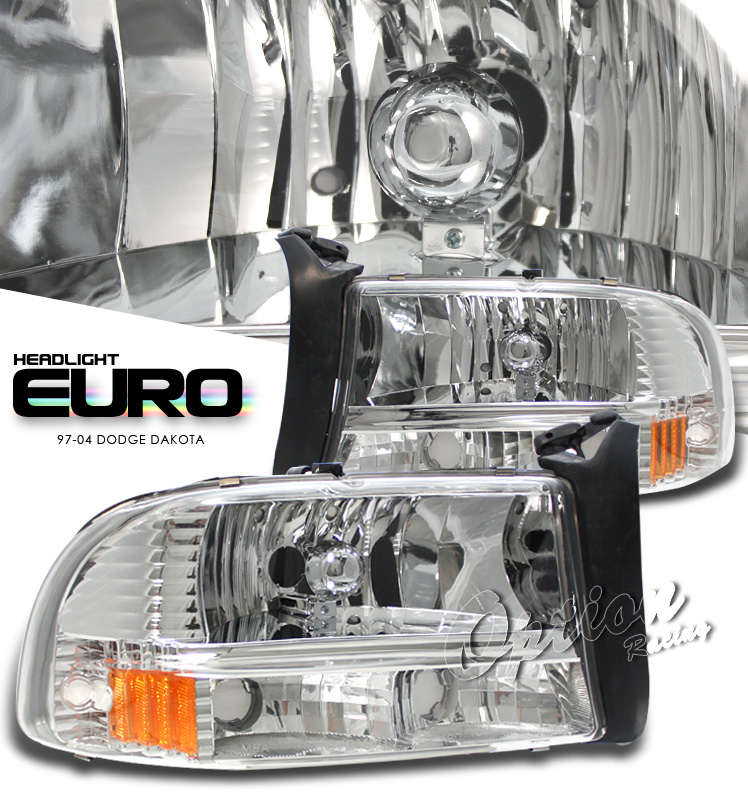 Dodge Durango 1998-2003  Chrome/amber 1pc Style Euro Crystal Headlights