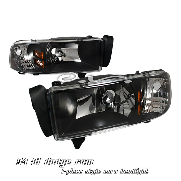 Dodge Ram 1994-2001  Black/amber 1pc Style Euro Crystal Headlights