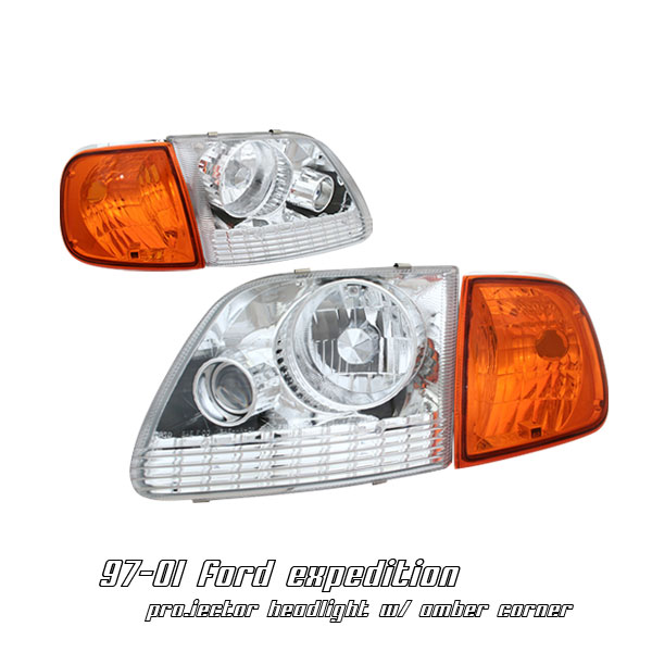 Ford Expedition 1997-2002  Chrome W/amber Corner Euro Crystal Headlights