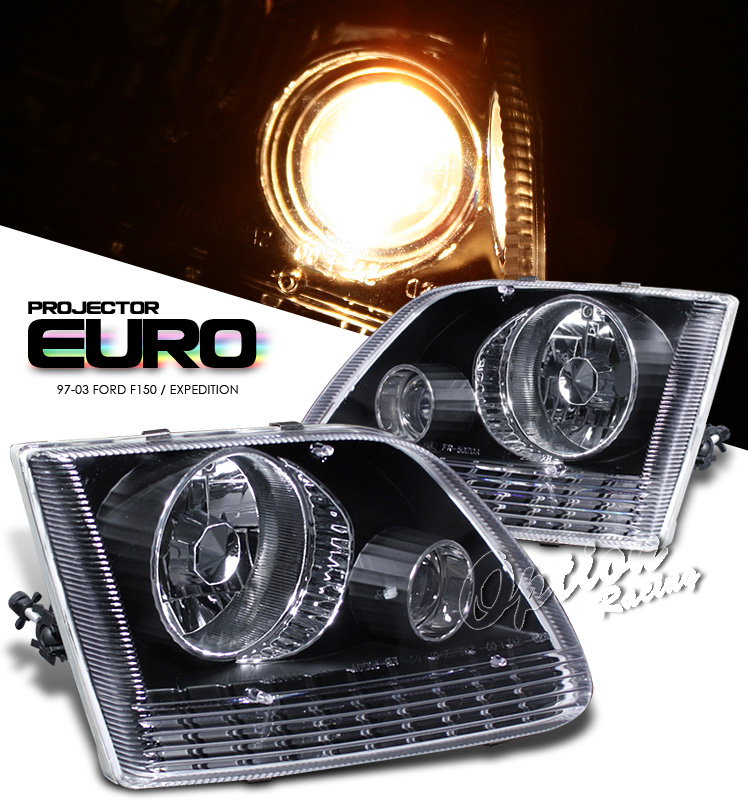 Ford Expedition 1997-2003  Black Euro Style Euro Crystal Headlights