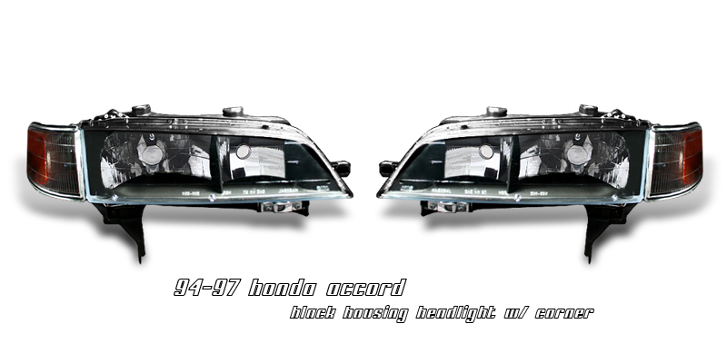 Honda Accord 1994-1997  Black W/amber Corner Euro Crystal Headlights