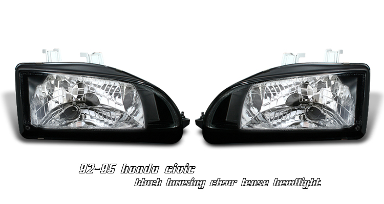 Honda Civic 1992-1995  Black Euro Crystal Headlights