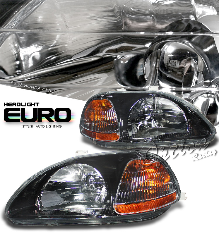 Honda Civic 1996-1998  Black/amber Euro Crystal Headlights