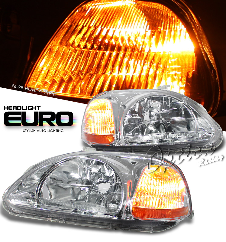 Honda Civic 1996-1998  Chrome/amber Euro Crystal Headlights