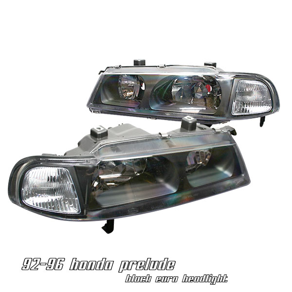 Honda Prelude 1992-1996  Black 1pc W/clear Corner Euro Crystal Headlights