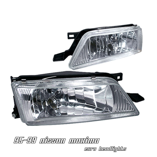 Nissan Maxima 1995-1999  Chrome Euro Crystal Headlights