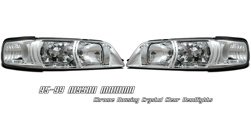 Nissan Maxima 1995-1999  Chrome 1pc R34 Style Euro Crystal Headlights