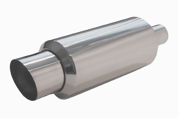 Ractive Round Tig Welded Muffler with 4 in. Slant Cut Tip and Silencer