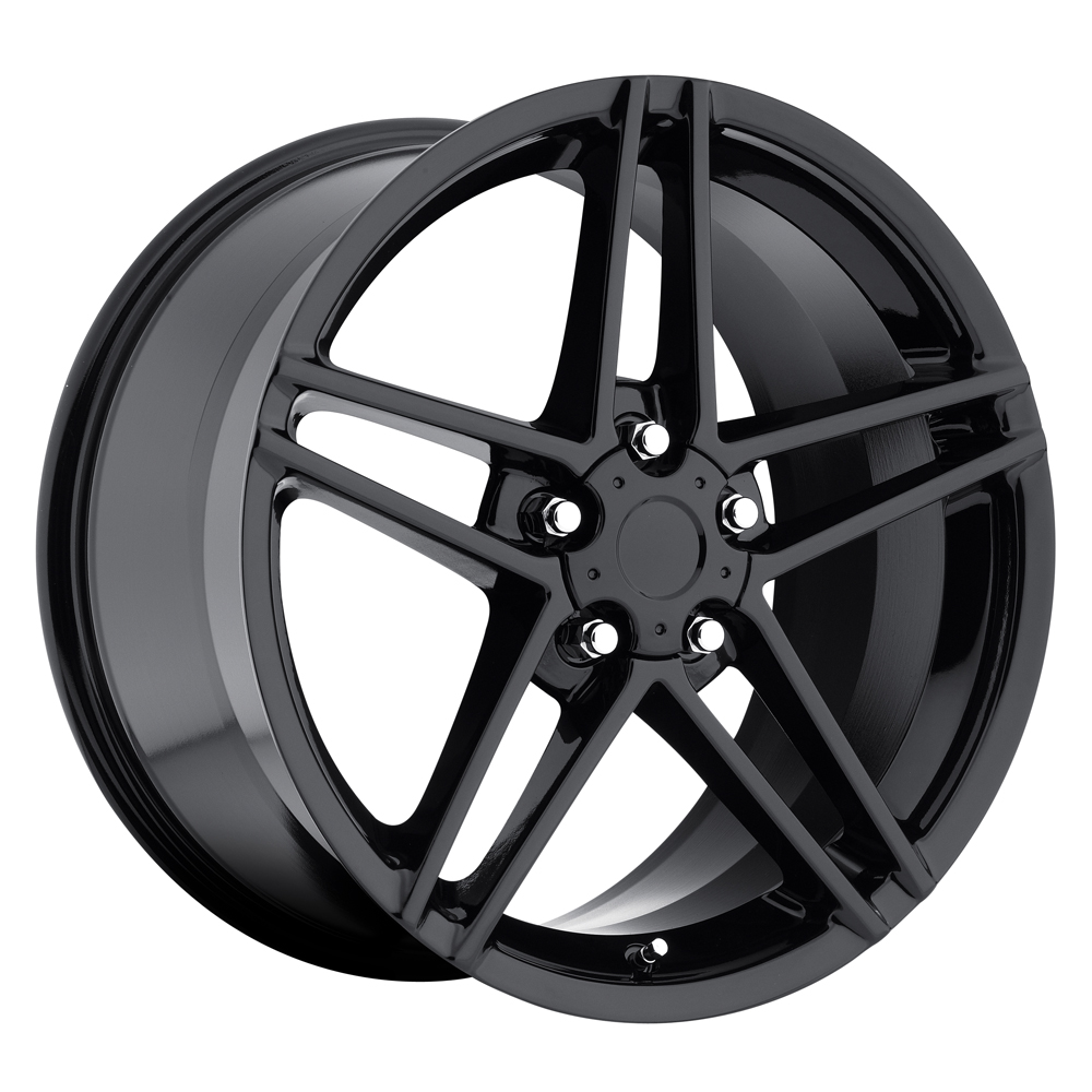 Chevrolet Corvette 1997-2012 17x8.5 5x4.75 +56 C6 Z06 Style Wheel - Gloss Black With Cap