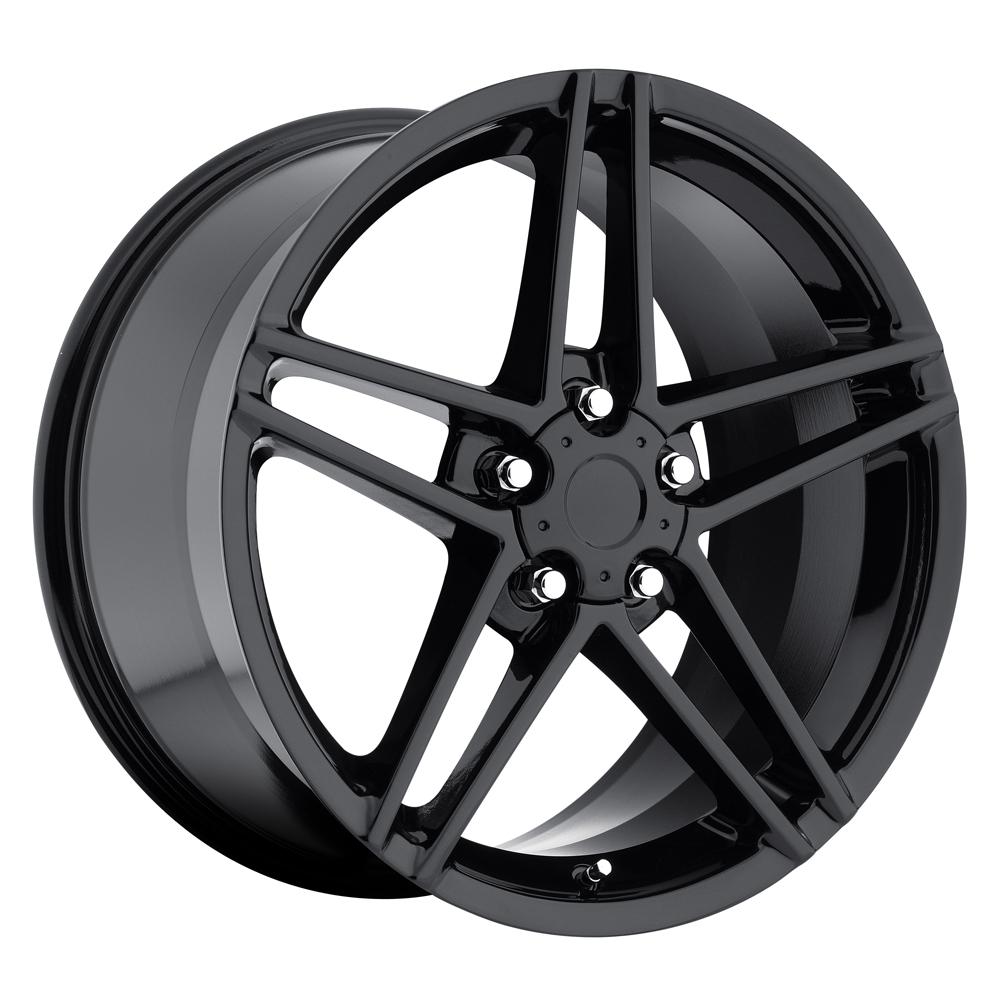 Chevrolet Corvette 1997-2012 17x8.5 5x4.75 +56 C6 Z06 Style Wheel - Gloss Black With Cap