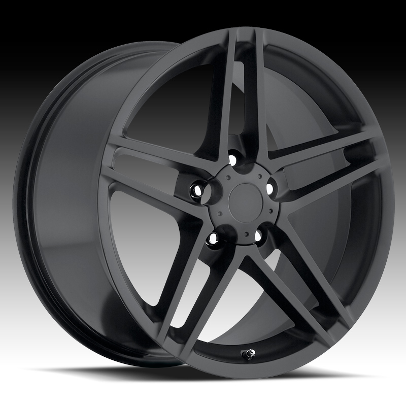 Chevrolet Corvette 1997-2012 17x8.5 5x4.75 +56 C6 Z06 Style Wheel - Satin Black  With Cap