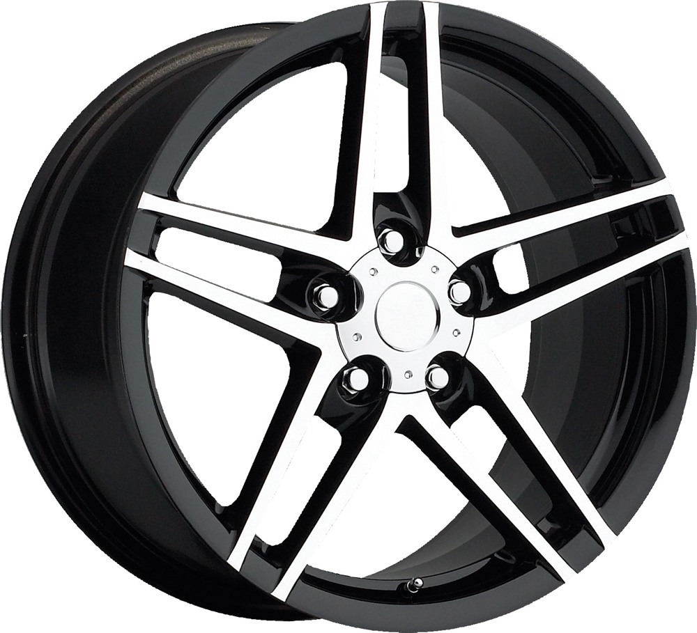 Chevrolet Corvette 1997-2012 17x8.5 5x4.75 +56 C6 Z06 Style Wheel - Black Machine Face With Cap