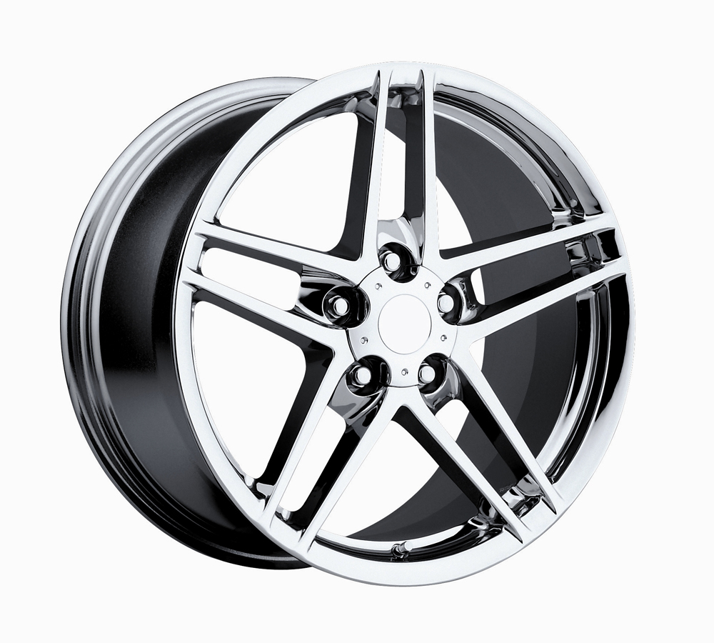 Chevrolet Corvette 1997-2012 17x9.5 5x4.75 +54 C6 Z06 Style Wheel - Chrome With Cap