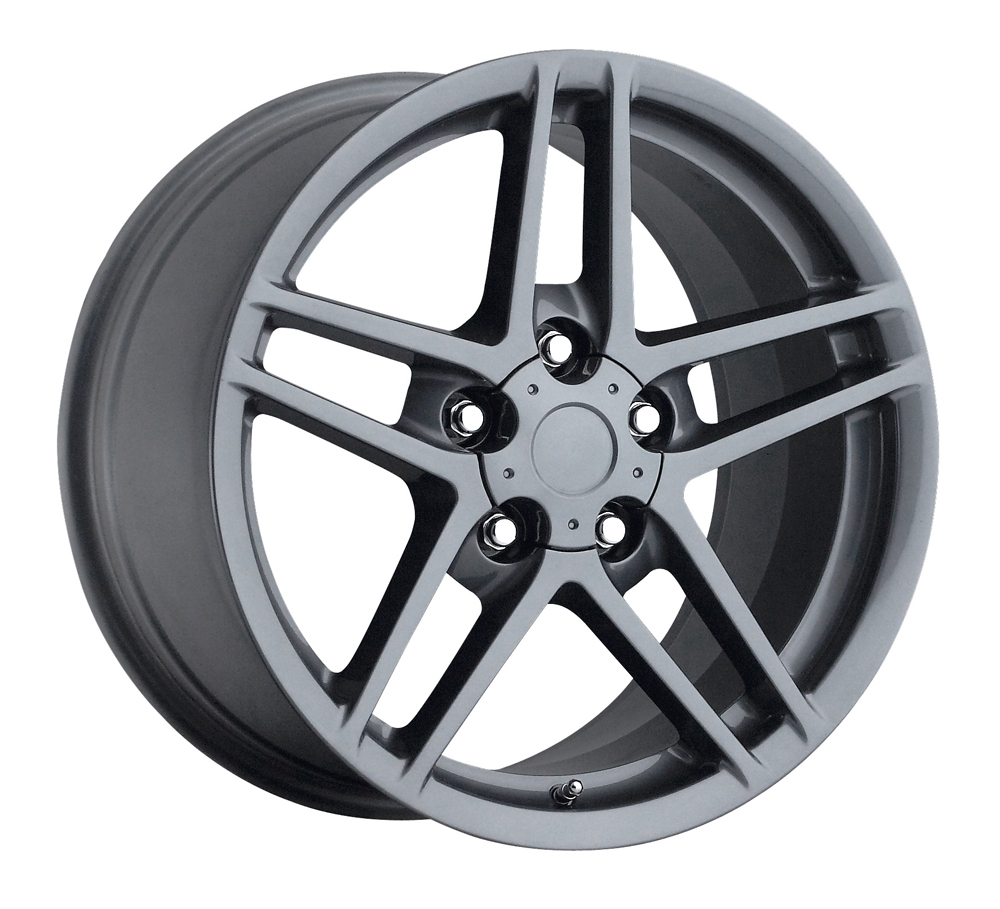 Chevrolet Corvette 1997-2012 17x9.5 5x4.75 +54 C6 Z06 Style Wheel - Grey With Cap