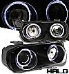 1997 Acura Integra   Halo Projector Headlights - Black Housing Clear Lens