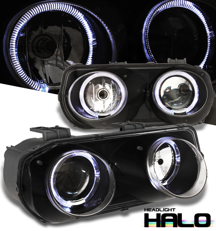 Acura Integra  1994-1997 Halo Projector Headlights - Black Housing Clear Lens 