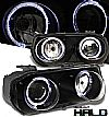 1996 Acura Integra   Halo Projector Headlights - Black Housing Clear Lens
