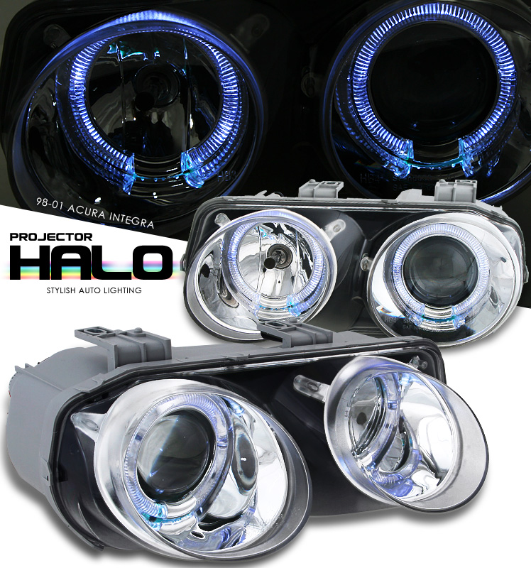 Acura Integra  1998-2001 Halo Projector Headlights - Chrome Housing Clear Lens