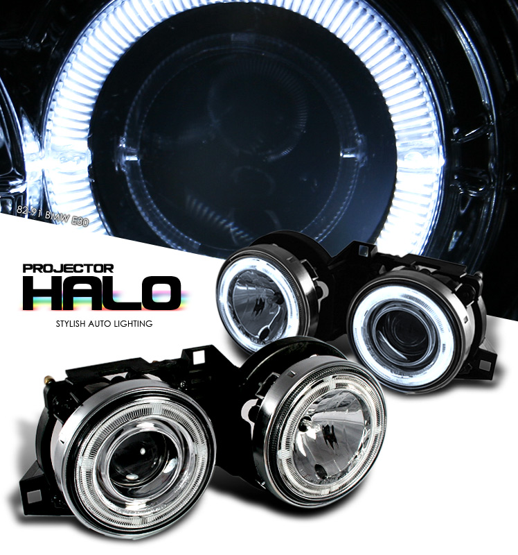 Bmw 3 Series 1982-1991  Chrome W/ Halo Projector Headlights
