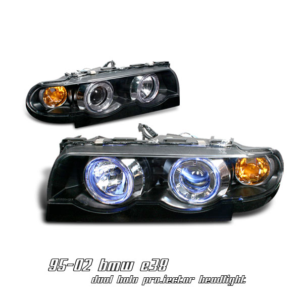 Bmw 7 Series 1995-2002  Black 1pc W/halo Projector Headlights
