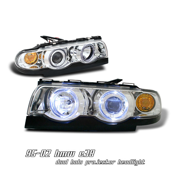 Bmw 7 Series 1995-2002  Chrome 1pc W/halo Projector Headlights