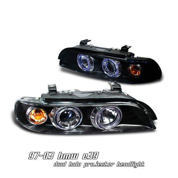 Bmw 5 Series 1997-2003  Black 1pc W/halo Projector Headlights