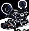 2003 Bmw 3 Series E46 4 Door  Halo Projector Headlights - Black/Amber Housing Clear Lens 