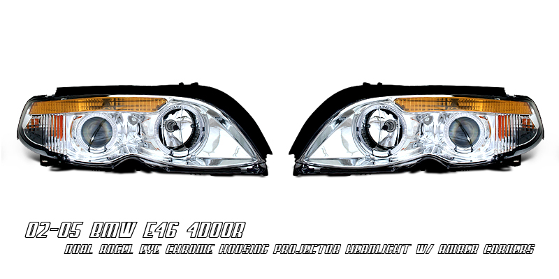 Bmw 3 Series 2002-2004 4dr Chrome/amber W/halo Projector Headlights