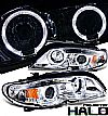 Bmw 3 Series E46 4 Door 2002-2004 Halo Projector Headlights - Chrome/Amber Housing Clear Lens