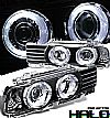 1990 Bmw 5 Series E34  Halo Projector Headlights - Black Housing Clear Lens 
