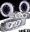 1993 Bmw 5 Series E34  Halo Projector Headlights - Chrome Housing Clear Lens