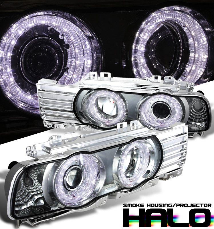 Bmw 5 Series E34 1989-1995 Halo Projector Headlights - Chrome Housing Smoke Lens