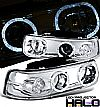 1999 Chevrolet Silverado   Halo Projector  W/LED Headlights - Chrome Housing Clear Lens