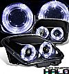 1997 Chevrolet Corvette C5  Halo Projector Headlights - Black Housing Clear Lens