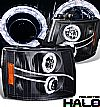 Chevrolet Silverado  2007-2009 Halo Projector Headlights - Black/Amber Housing Clear Lens