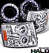Chevrolet Silverado  2007-2009 Halo Projector Headlights - Chrome/Amber Housing Clear Lens