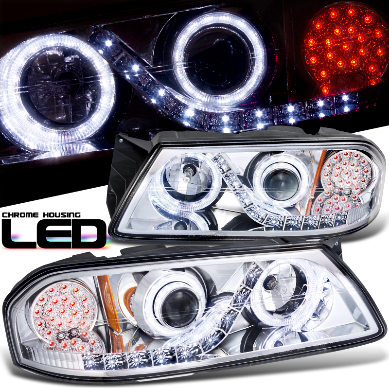 Chevrolet Impala  2000-2005 Projector  W/LED Signal Headlights - Chrome Housing Clear Lens