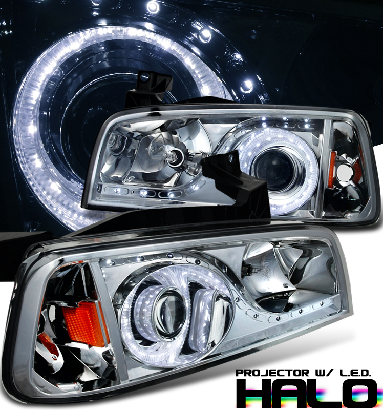 Dodge Charger  2006-2010 1 Pc Projector Headlights - Chrome/Amber Housing Smoke Lens