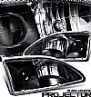 1998 Ford Mustang   Projector Headlights - Black Housing Clear Lens 