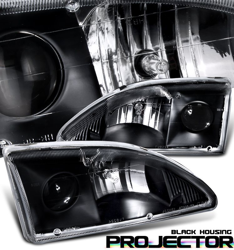 Ford Mustang  1994-1998 Projector Headlights - Black Housing Clear Lens 