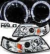2000 Ford Mustang   Halo Projector Headlights - Chrome Housing Clear Lens