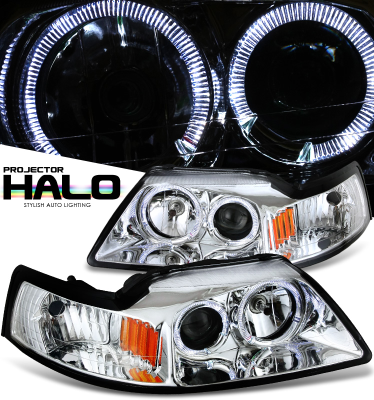 Ford Mustang  1999-2004 Halo Projector Headlights - Chrome Housing Clear Lens
