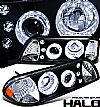 1987 Ford Mustang   1 Pc Halo Projector Headlights - Black Housing Clear Lens